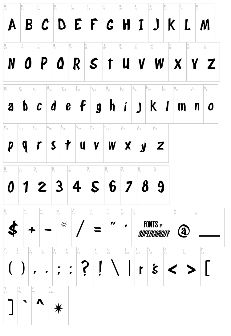 Frosty's Winterland font map