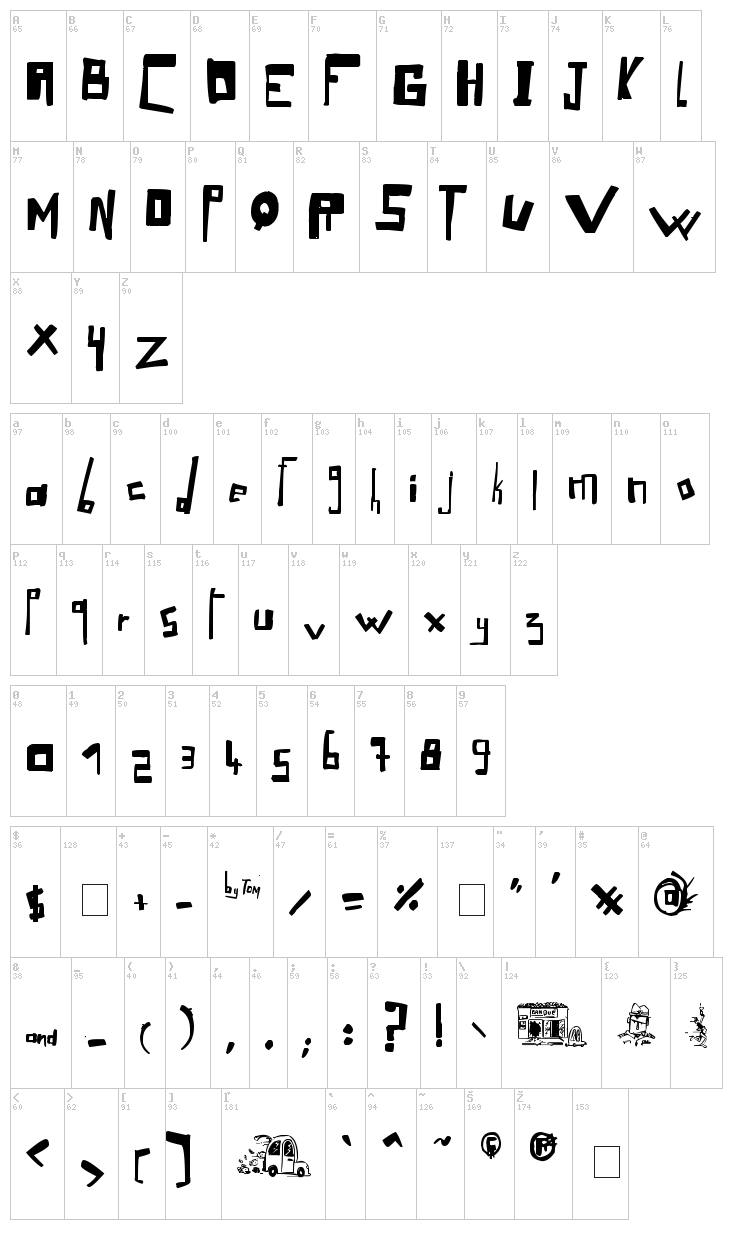 LoOse Gangster font map