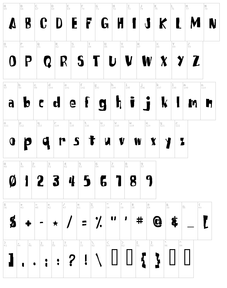 SpongeFont Square Type font map