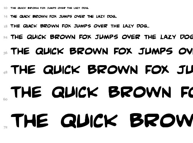 Comic Book Commando font waterfall