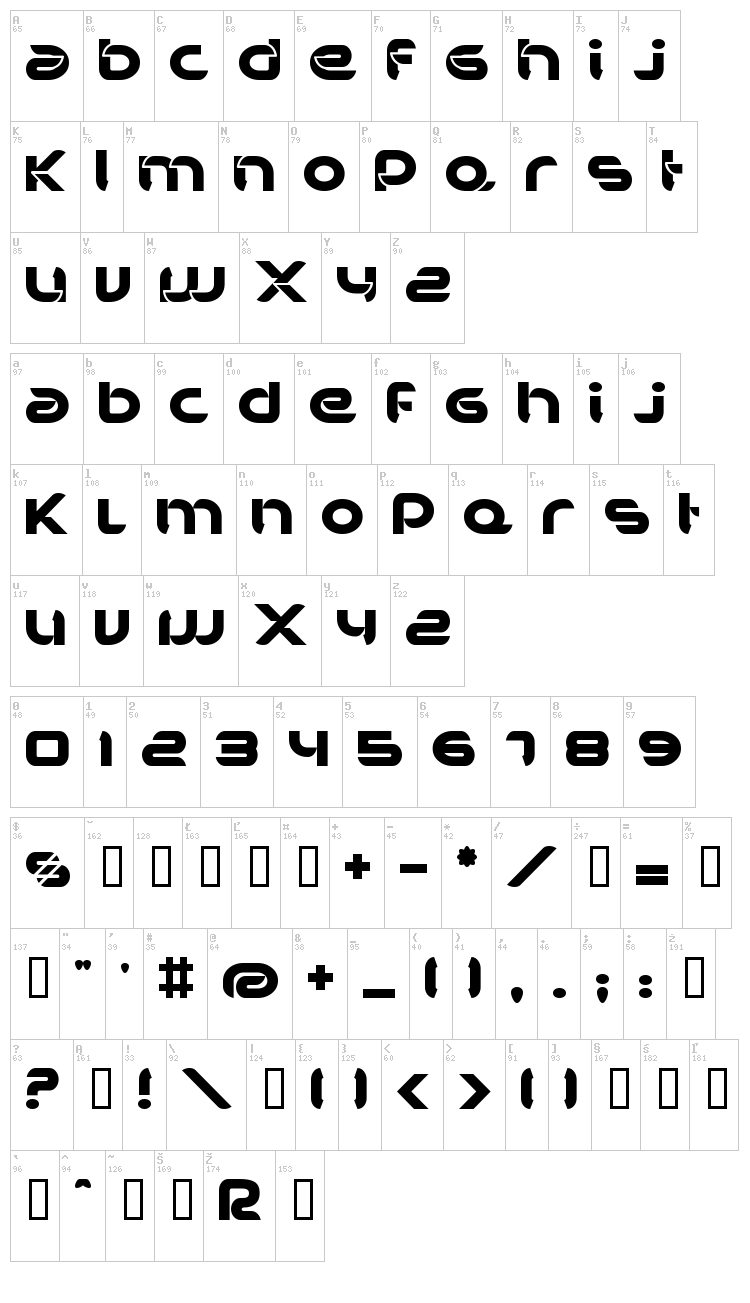 BD Bankwell font map