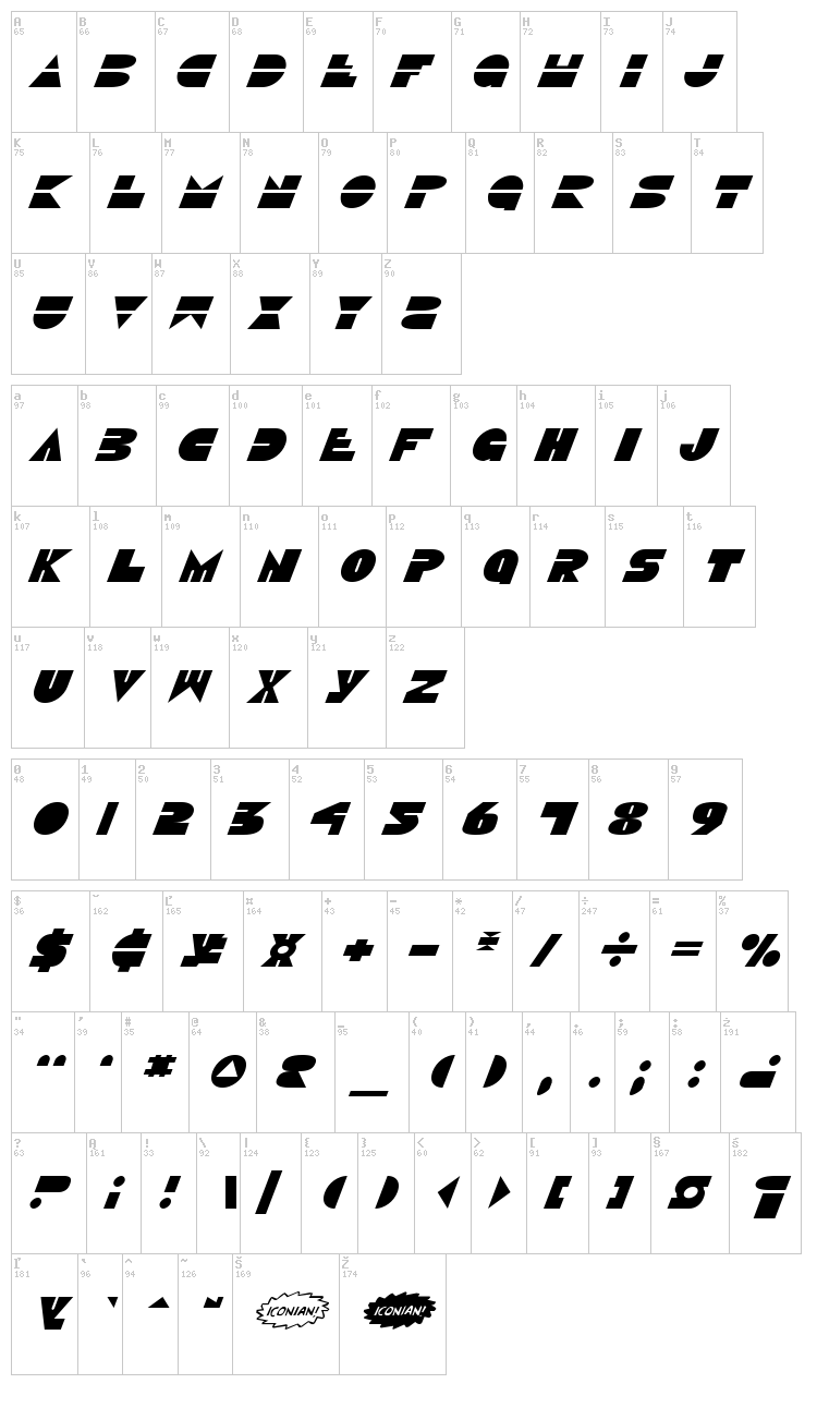 Disco Duck font map