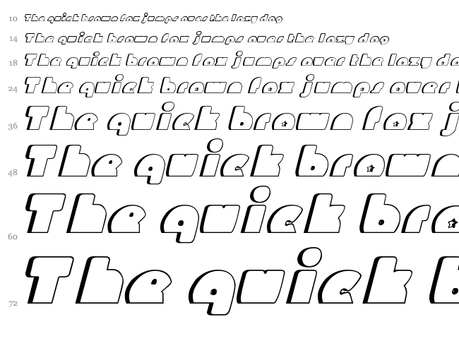 Mighty Gizmo font waterfall