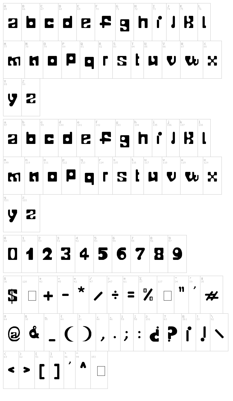 Telopone font map
