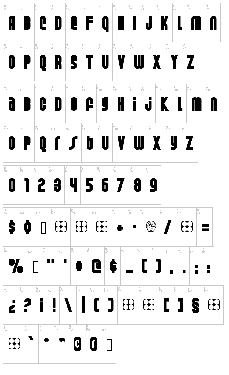 Weltron Special Power / 2001 font map