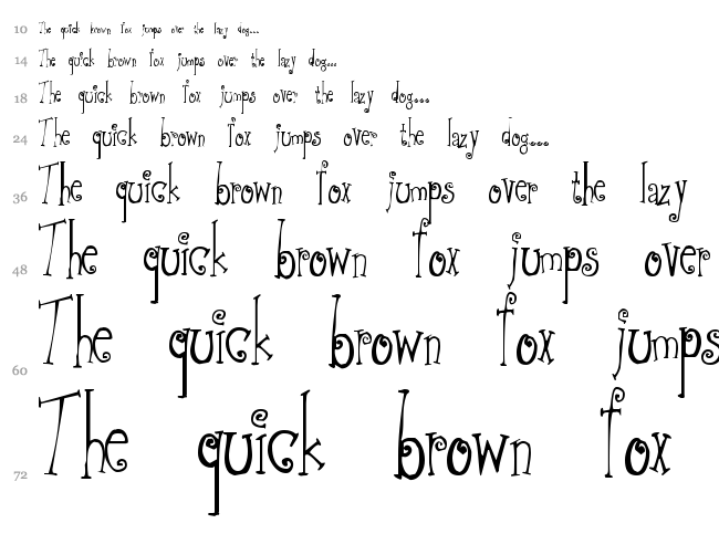 Greywolf Quirk font waterfall