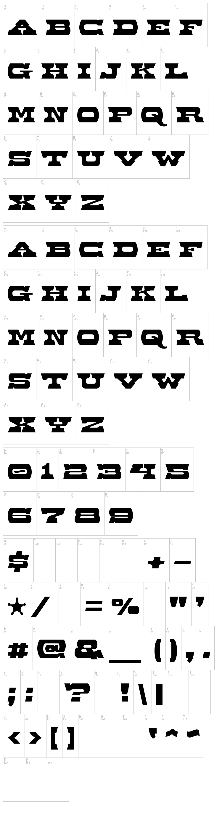Baccer font map