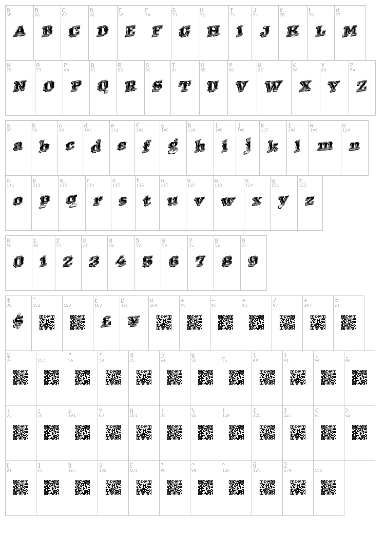 Western Racing font map