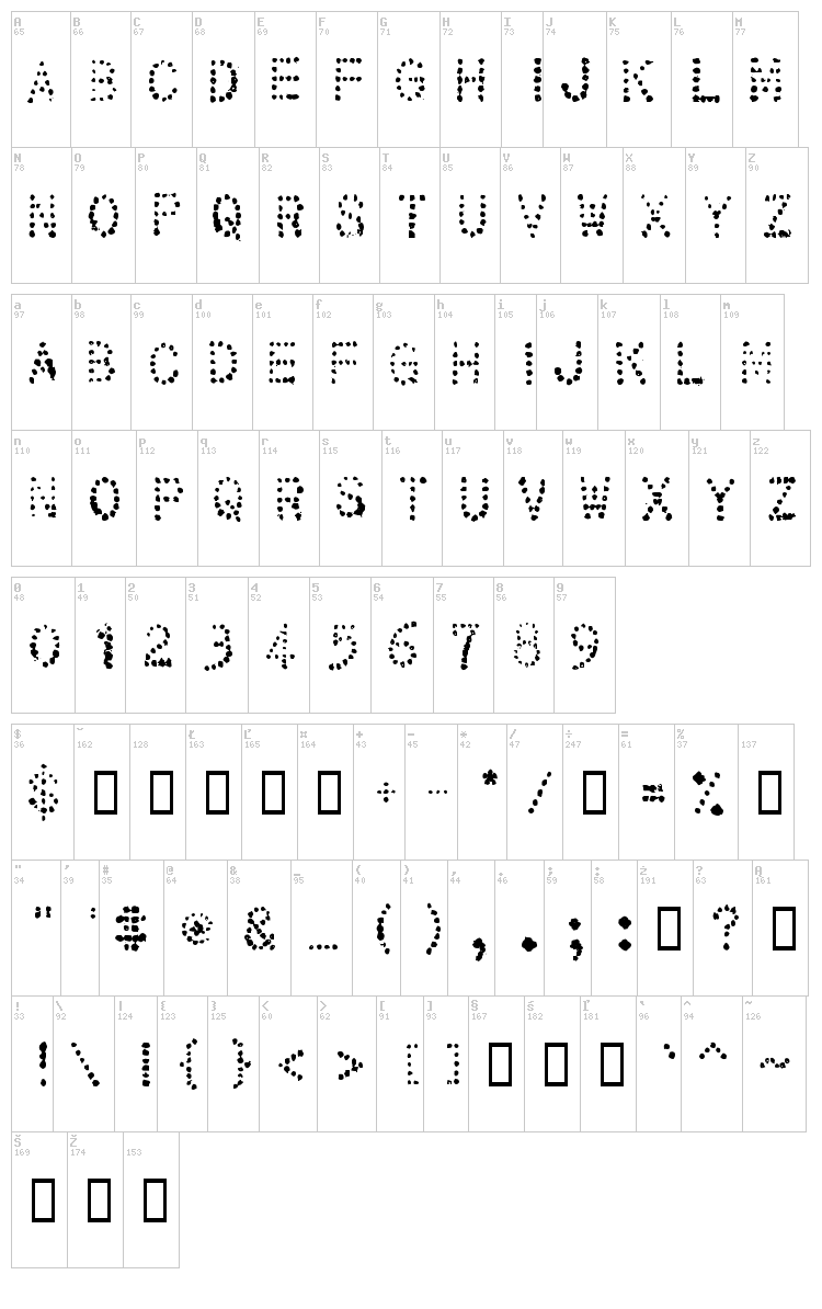 32 Pages font map