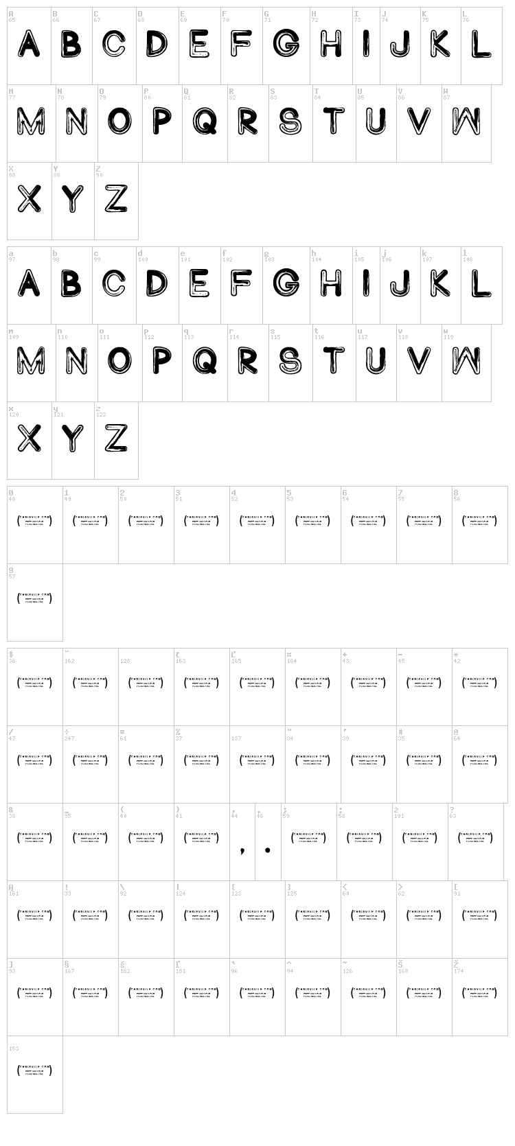 Abduco font map
