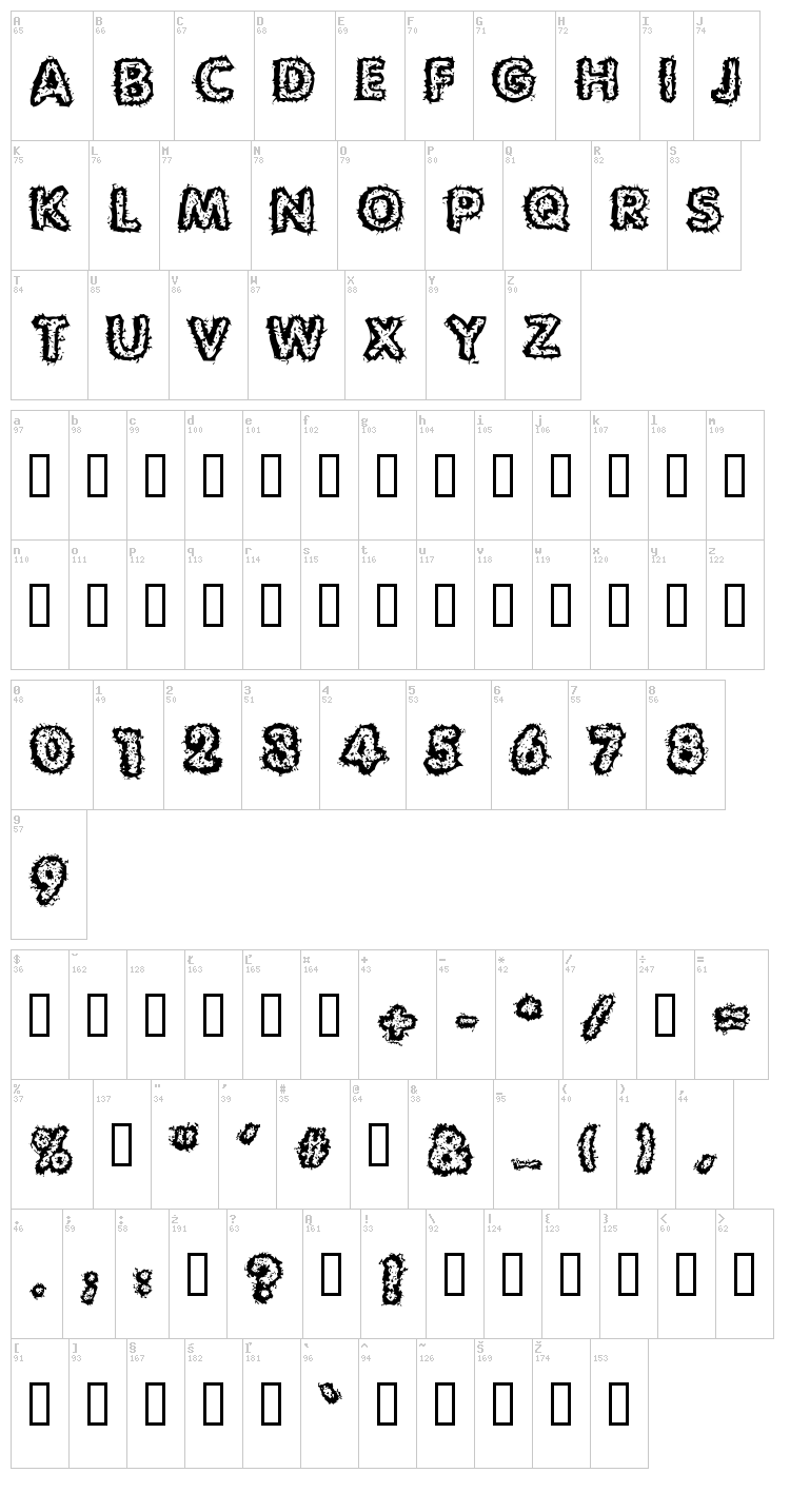 Carvings font map