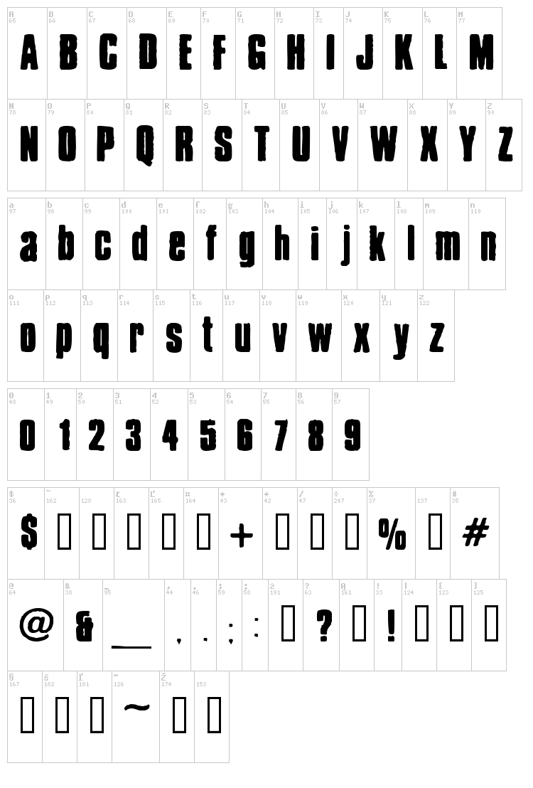 Chrispy font map