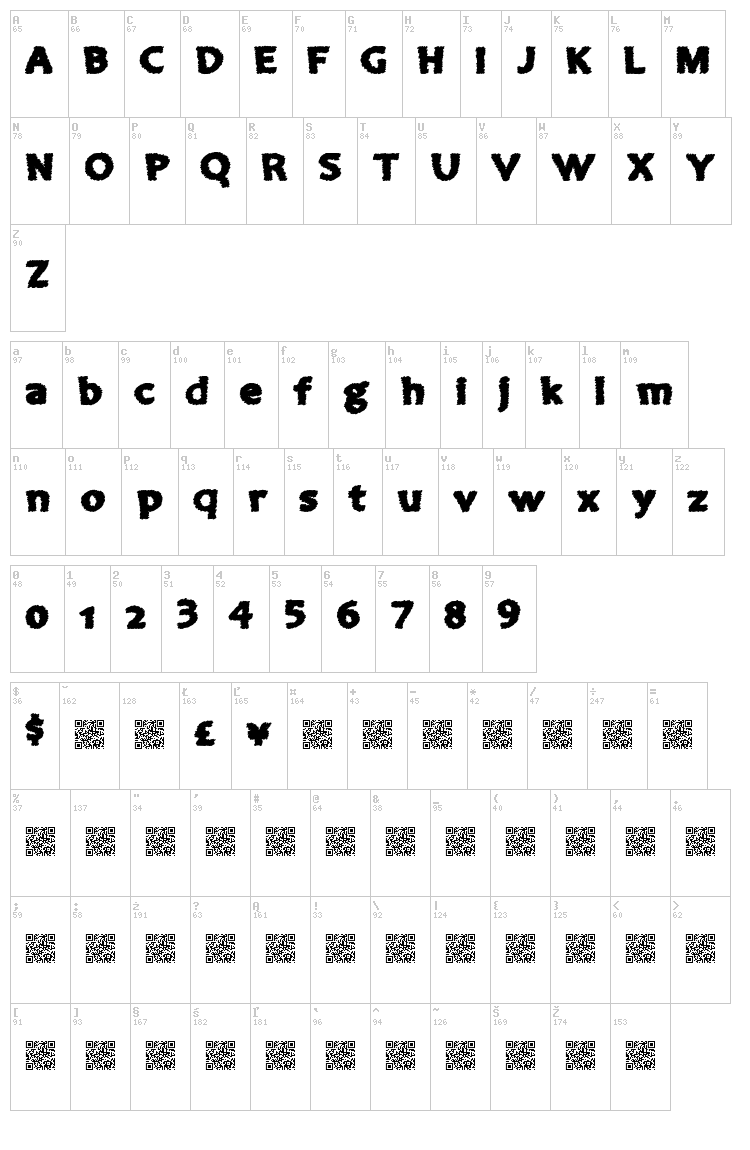 Come Inside font map