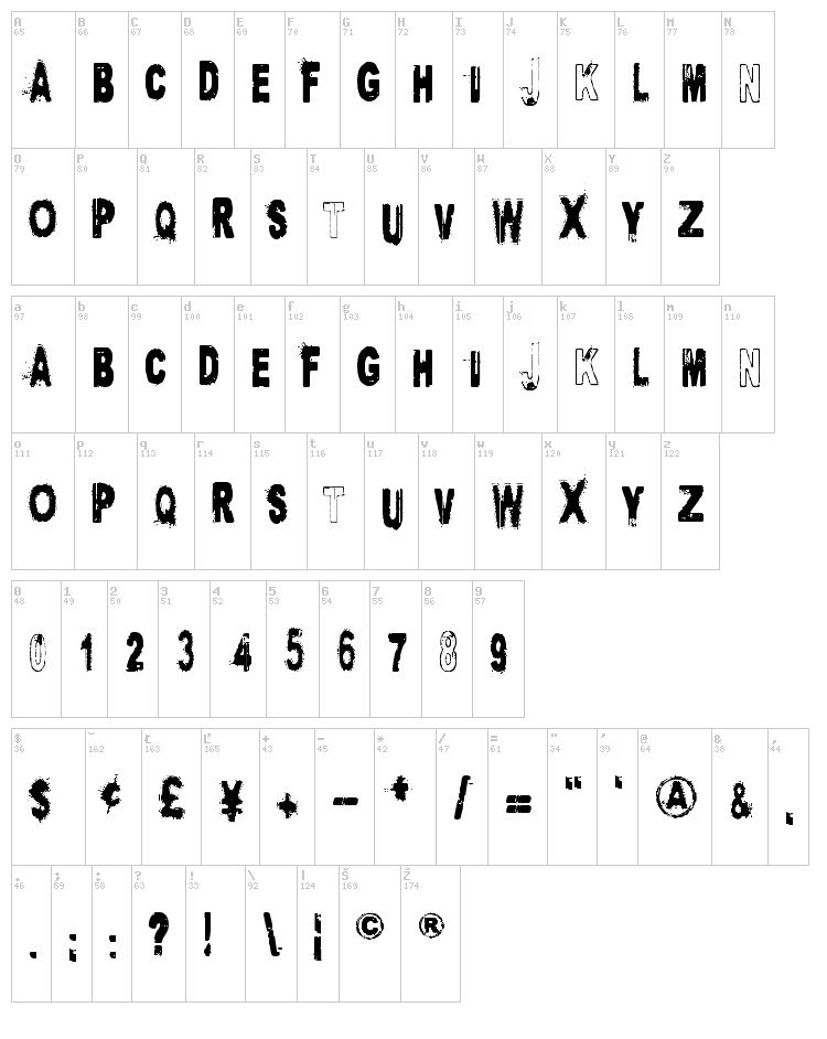 Project X font map