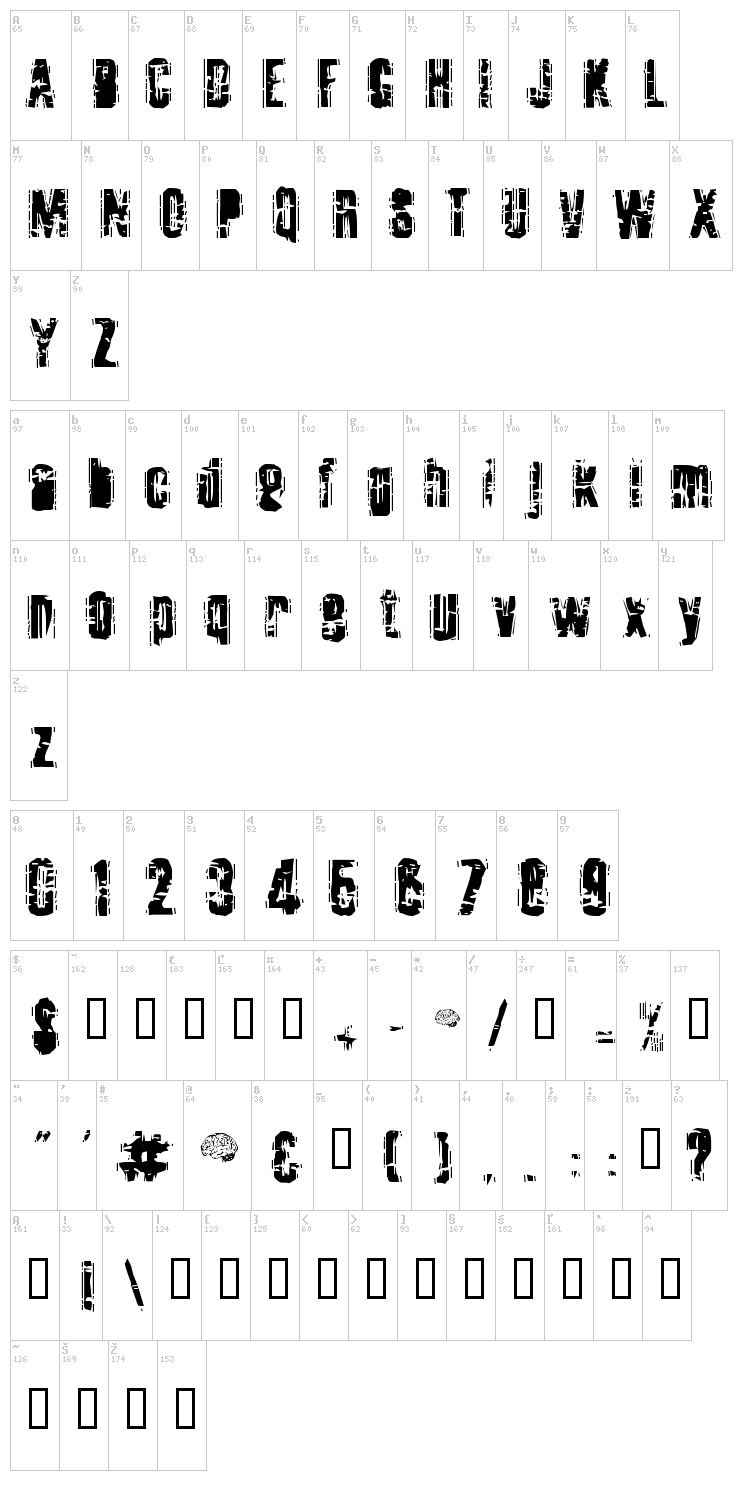Tooth Ache font map
