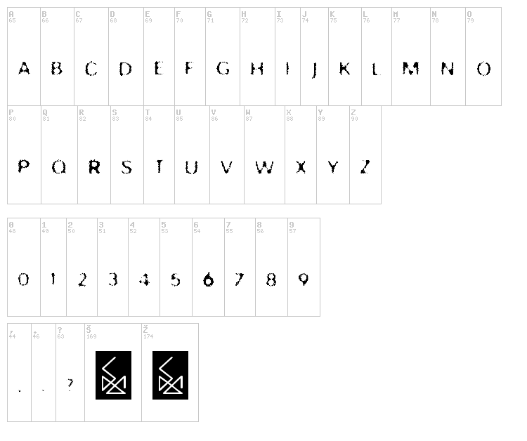 Trash font map