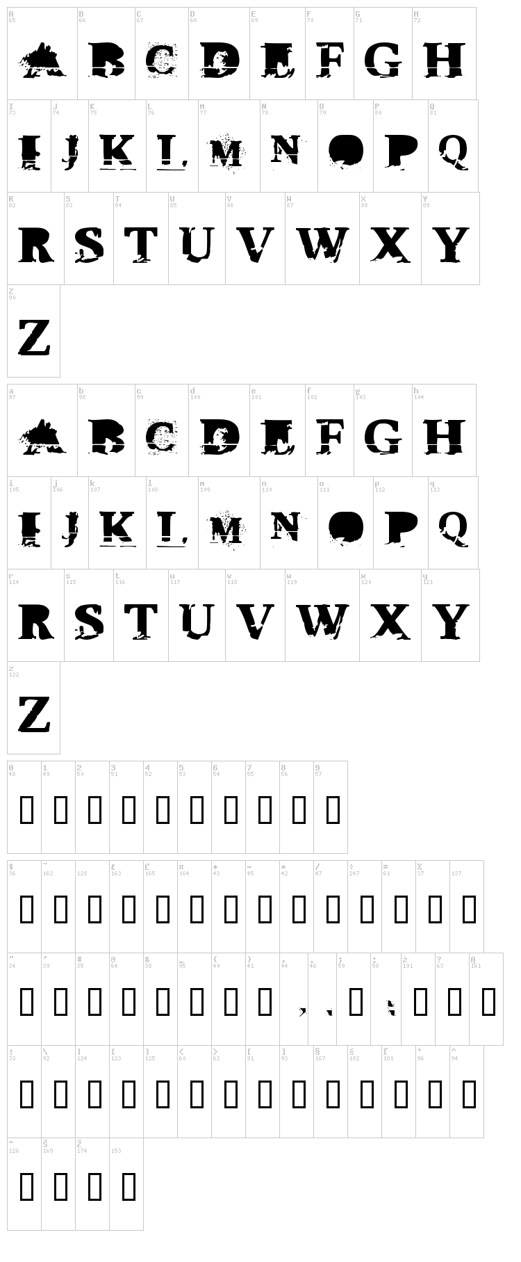 Triple XXX font map