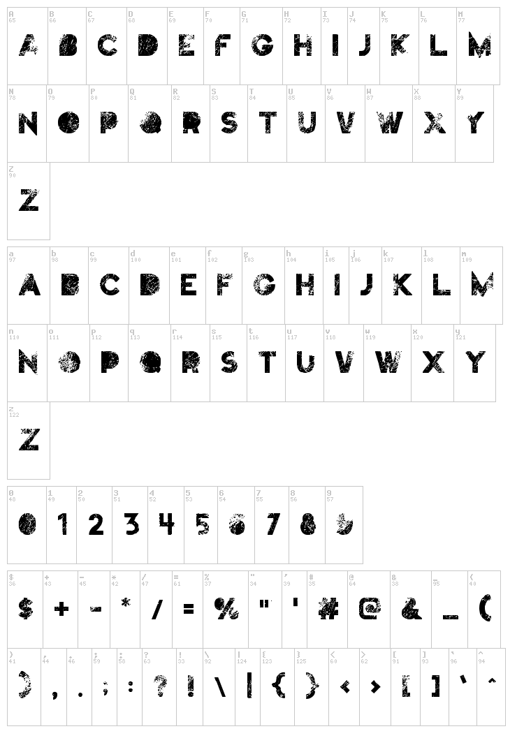 Truskey font map