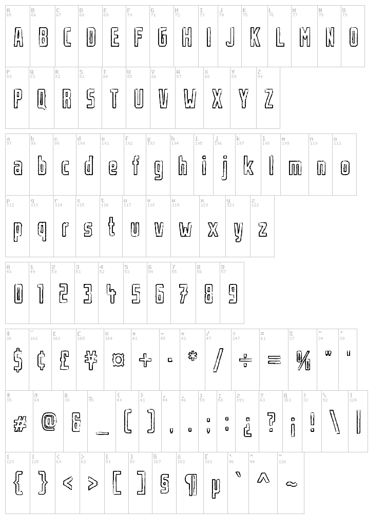 Urban Rubber font map
