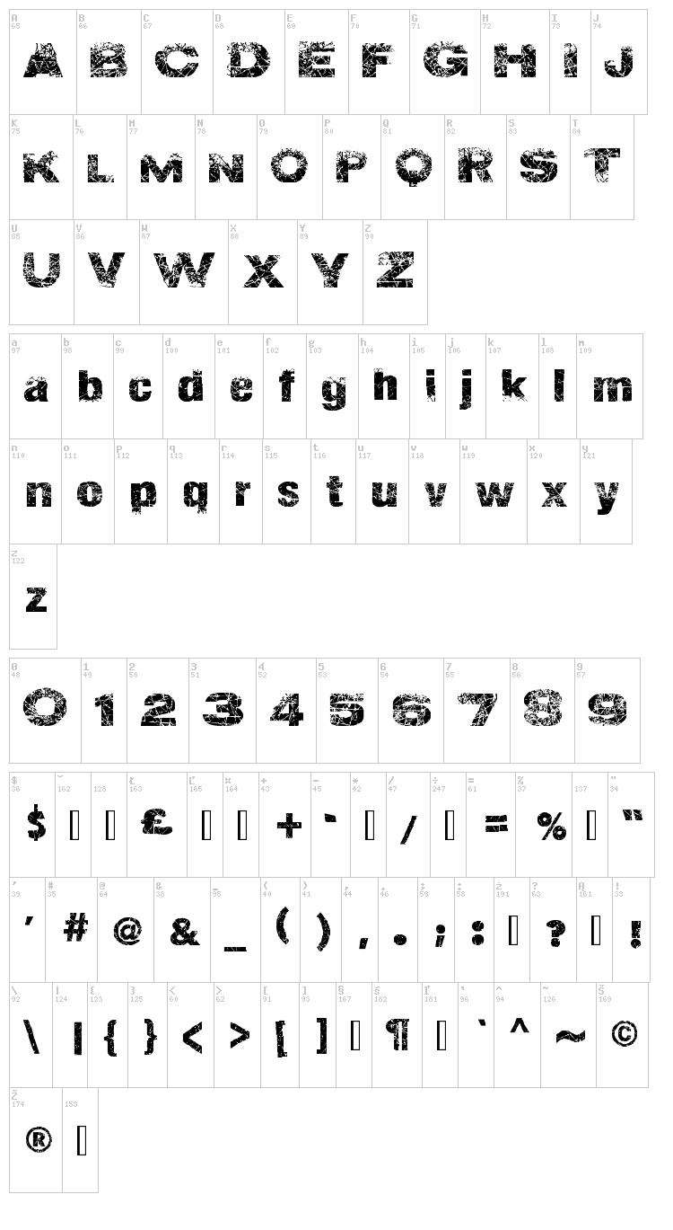 Action of the Time New font map