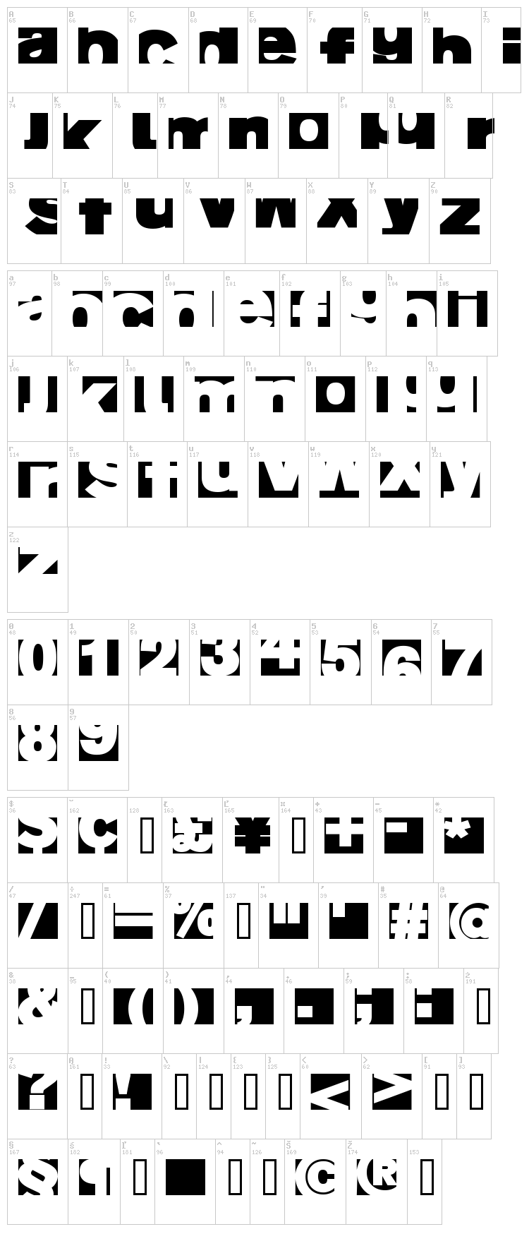 AI Fragment font map