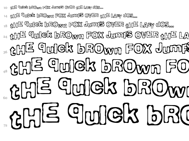 Comicate font waterfall