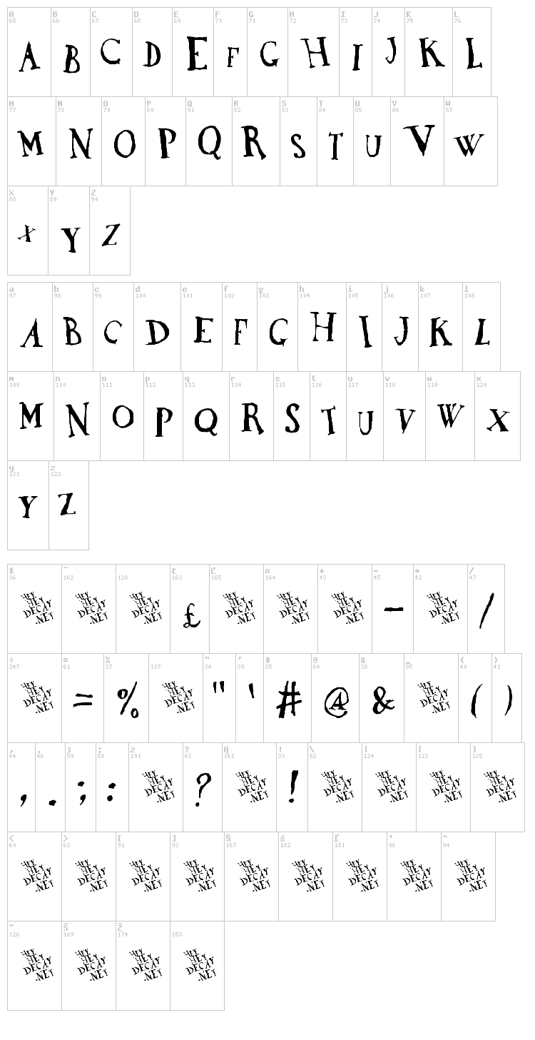 DaDa Antiquerist font map