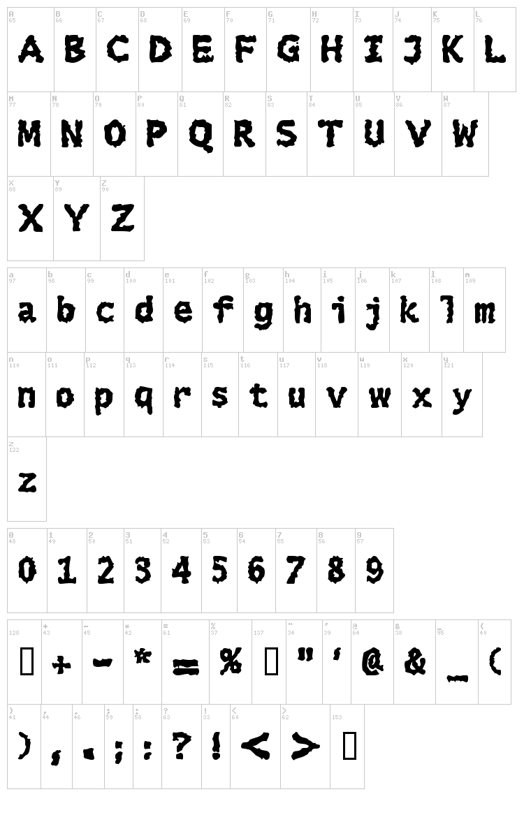 Extralucid font map