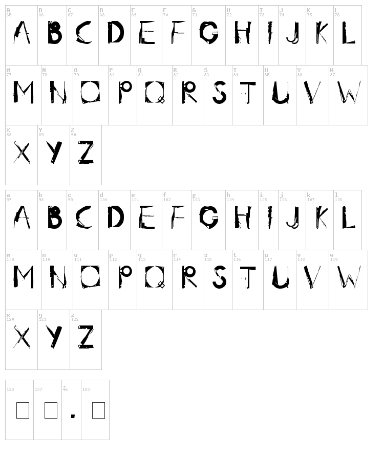 Radar.One font map