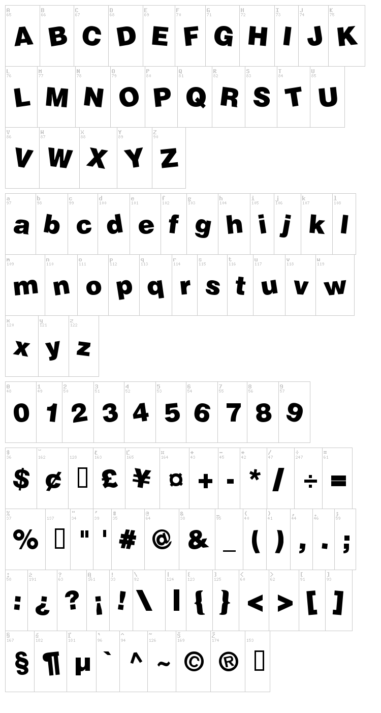 Soopafresh font map