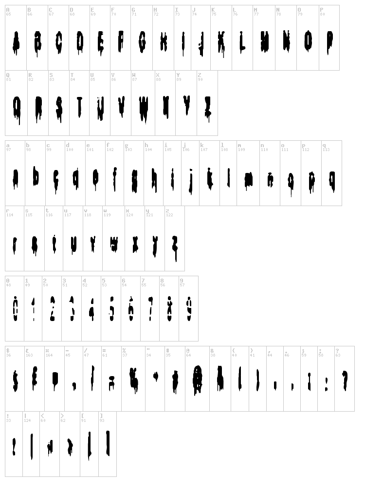 Bodybag font map