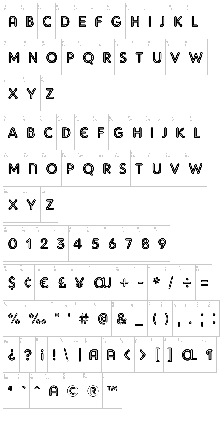 AdamGorry Inline + Lights font map