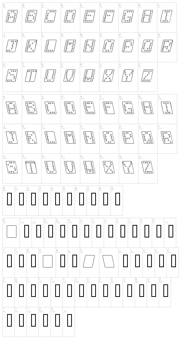 Domino font map