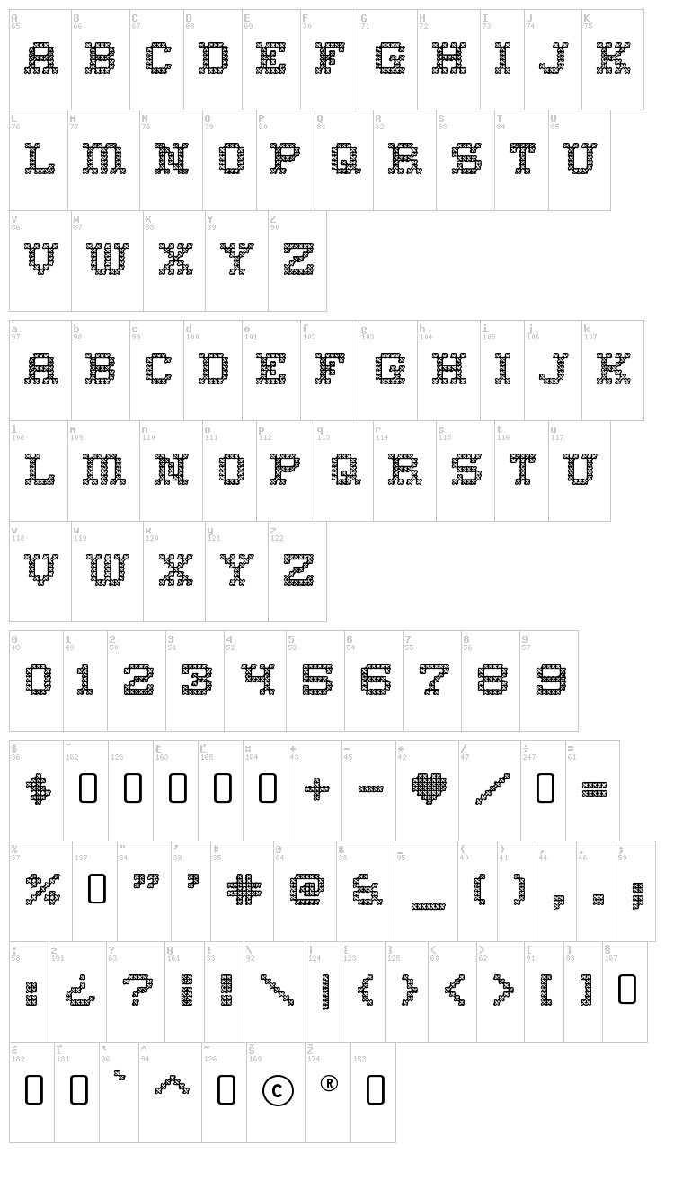 Home Sweet Home font map