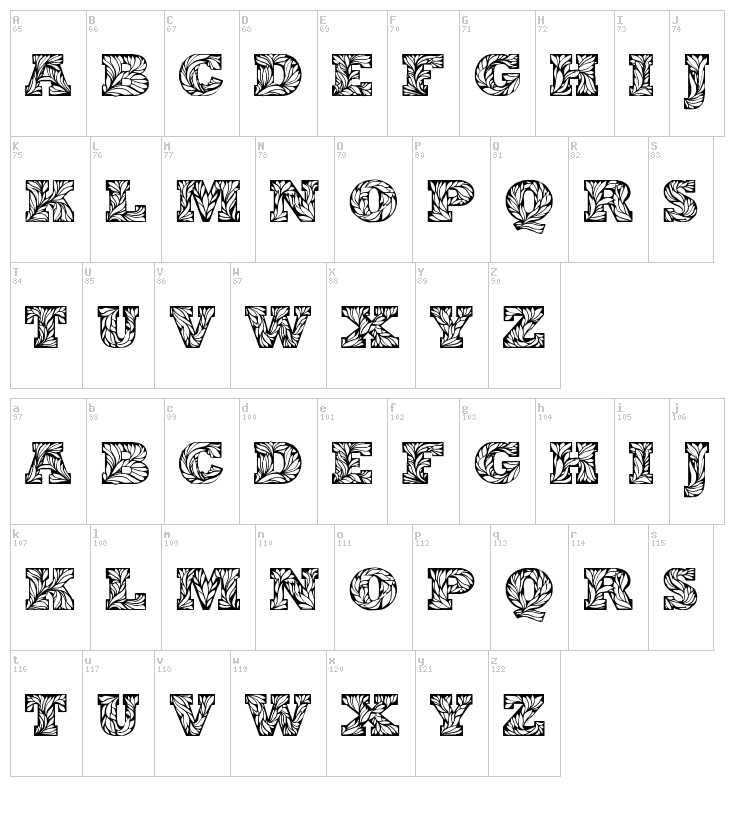 Leaffy font map
