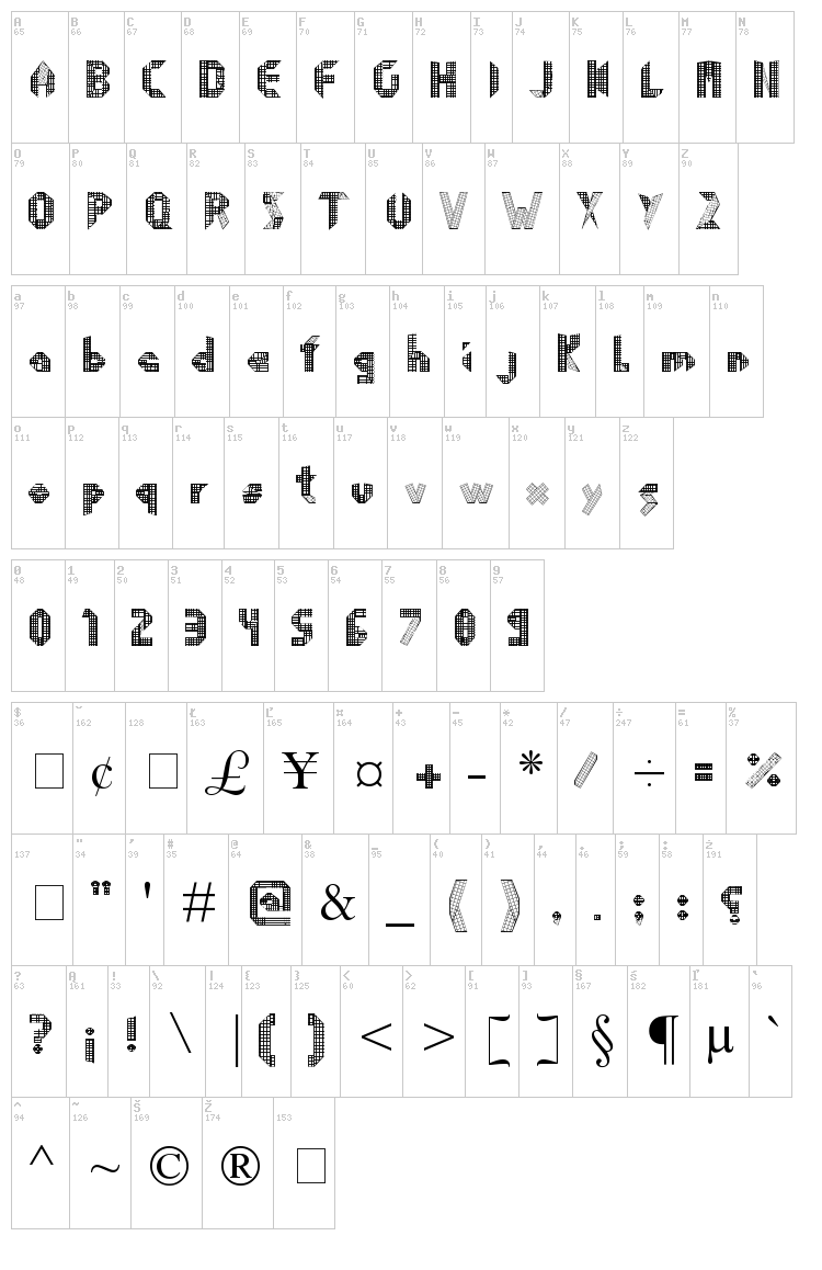 Origami font map