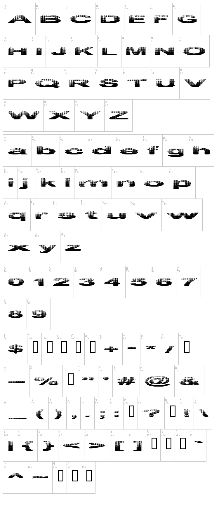Philtered Phont font map