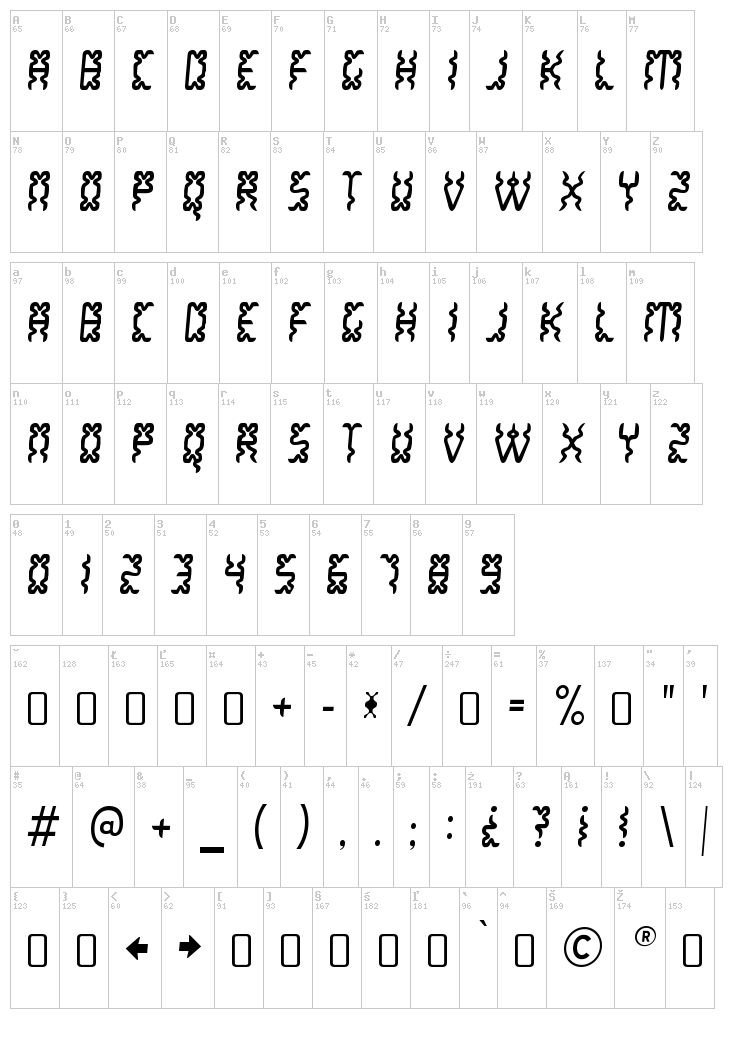 White Lake font map