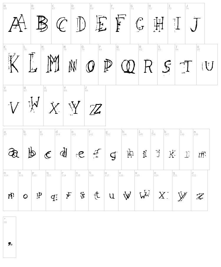 Leaping Typewriter font map