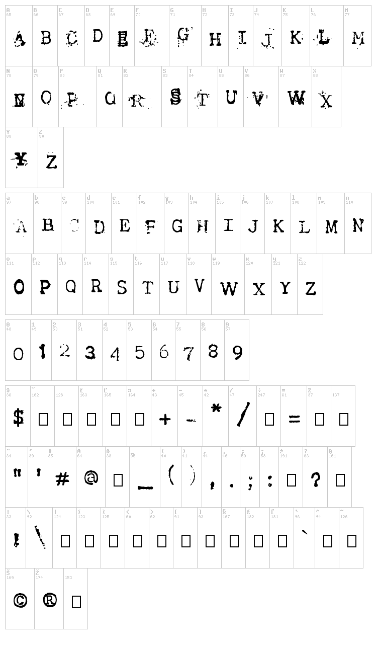 Tract font map