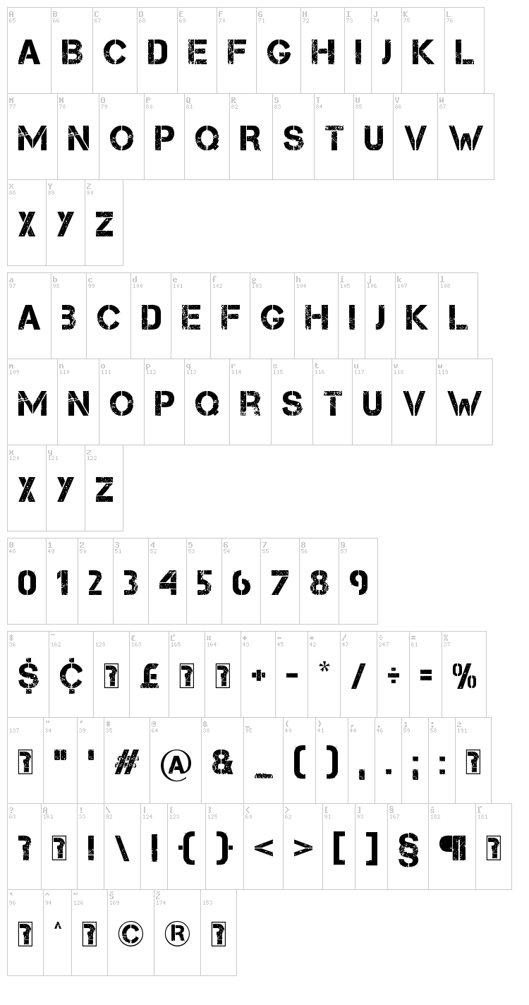 Capture it font map