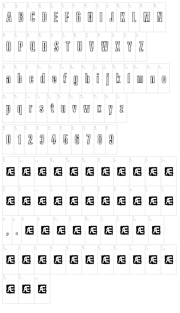 Ink Tank font map