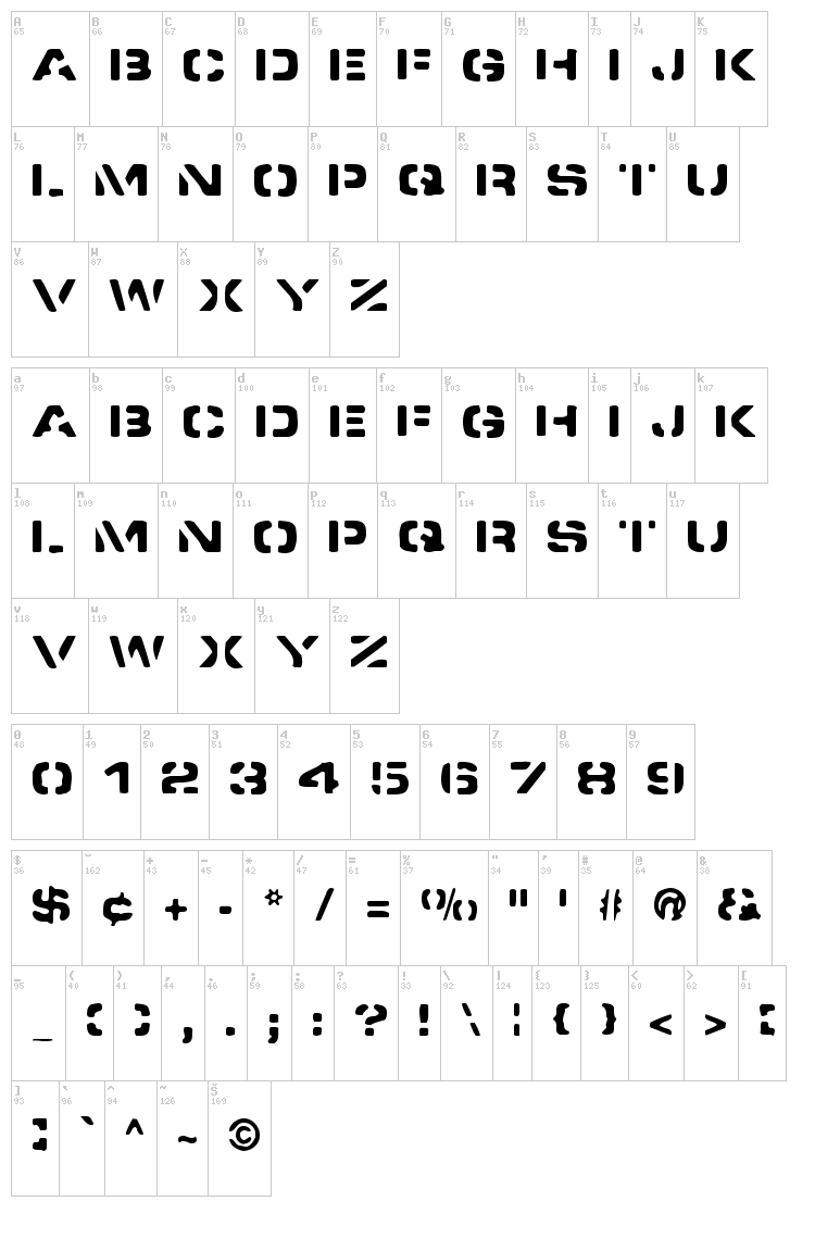 Spacedock Stencil font map