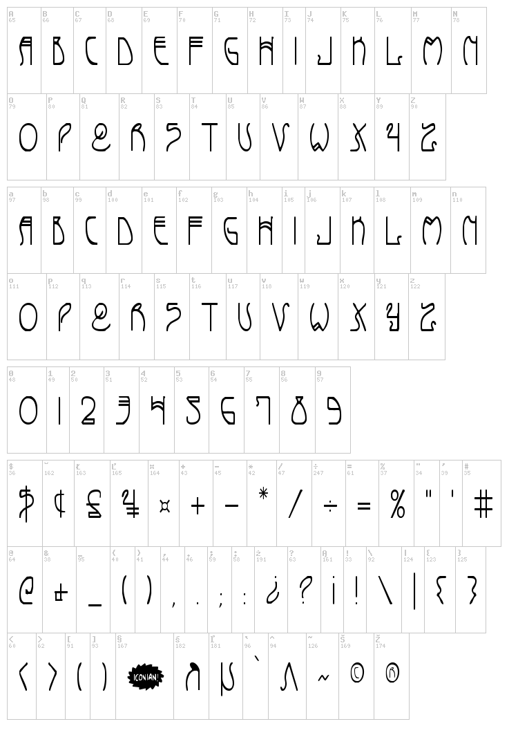 Coyote Deco font map