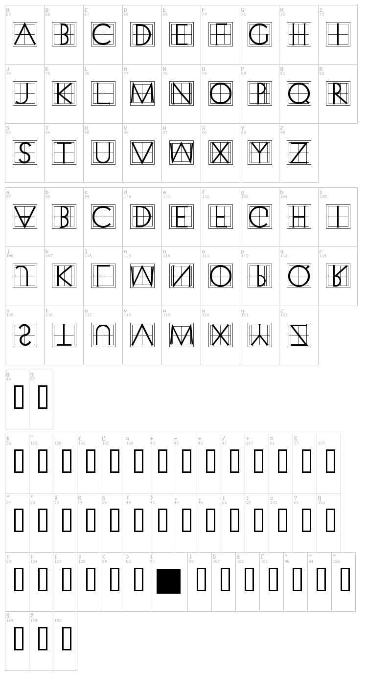 XperimentypoThree font map