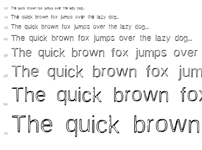 Awesome Outline font waterfall