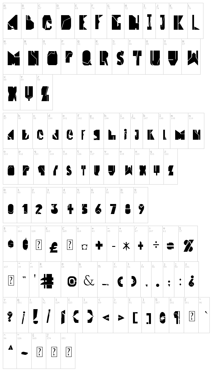 Block & Middle Line font map