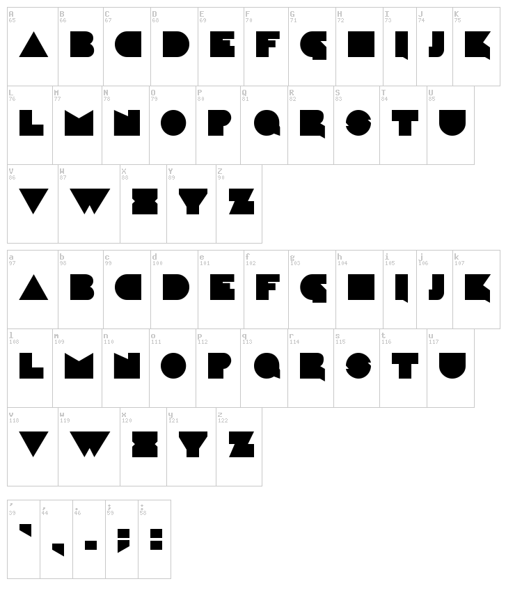 Caligari font map