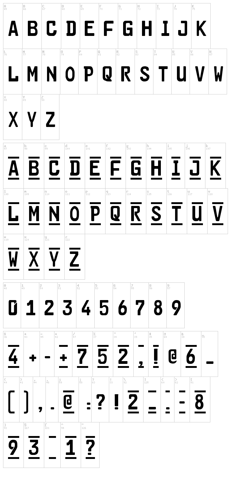 Car-Go 2 font map