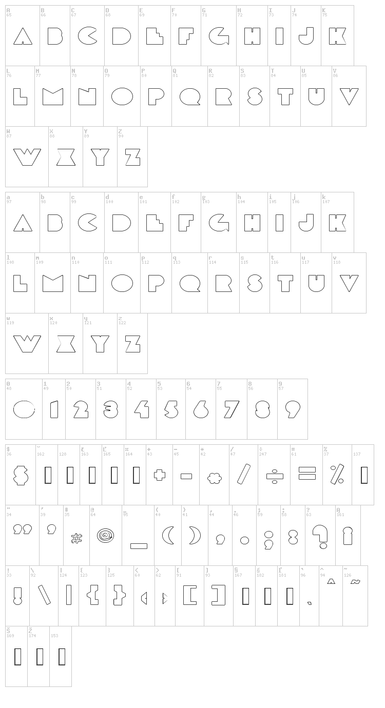 DeLarge font map